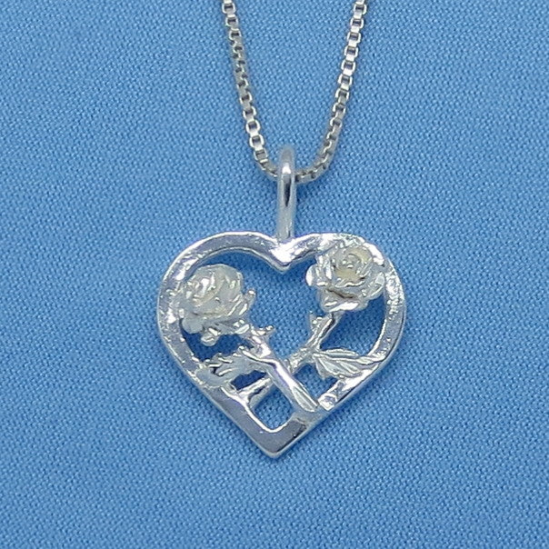 Sterling Silver Heart & Roses Pendant Necklace - Flower - p150392