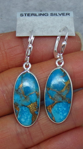 Mojave Blue Copper Turquoise Earrings - Leverback - Sterling Silver - Long Ovals - Lightweight - Handmade - 171553
