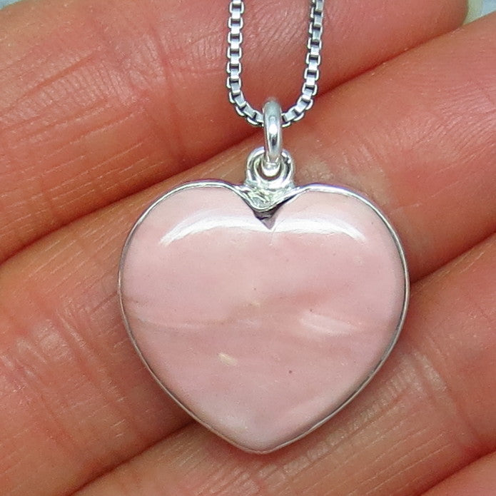 Genuine Pink Opal Heart Necklace - Sterling Silver - Handmade - p150809