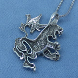 Small Medieval Design Heraldic Lion Pendant Necklace - Sterling Silver - Leo - Renaissance - Zodiac - Cat -- p170605