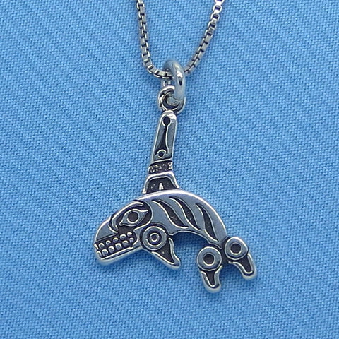 Small Inuit Orca Pendant Necklace - Sterling Silver - Pacific Northwest - Alaska - Whale - Totem - Native American - p150381