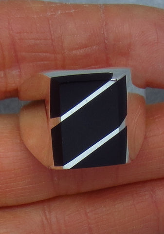 Men's Genuine Black Onyx Inlay Ring - Sterling Silver - Rectangle - Solid - Heavy - Size 12 - Z264523