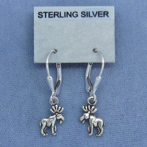 Sterling Silver Teeny Tiny Mini Moose Earrings - Leverback -Hand Made --150558