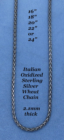 "Italian Sterling Silver Oxidized Wheat Chain - 2.1mm Thick - Spiga - 16"", 18"", 20"", 22"" or 24"""