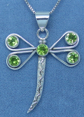 Large Genuine Peridot Dragonfly Necklace - Sterling Silver -- p162239