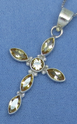 Genuine Citrine Cross Necklace - Sterling Silver - Simple - Large-ish - Golden Citrine - Hand Made - JY171922