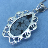 Snowflake Obsidian Pendant Necklace - Sterling Silver - Filigree Design - Pear Shape - p171384