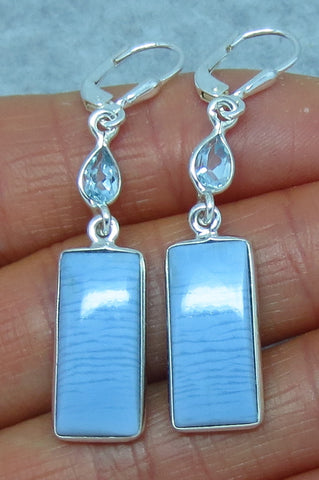 Pale Blue Idaho Owyhee Opal Earrings - Leverback - Sterling Silver - Blue Topaz Accent - Rectangle Long Dangles - 151402
