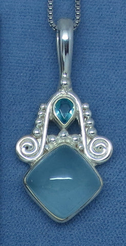 Sajen Genuine Aquamarine & Apatite Necklace - Sterling Silver
