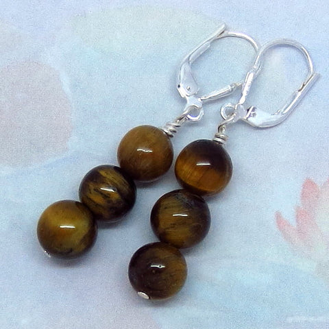 Tiger Eye Earrings - Leverback - Sterling Silver - Long Dangles - Three Stone