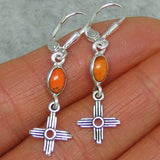 Tiny Genuine Coral Zia Leverback Earrings - Sterling Silver - Italian Coral - Sun - Cross - Taos - Small - Dainty - Delicate - 160702