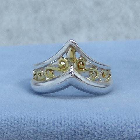 Size 5 Italian Renaissance Reproduction Filigree V Ring - Sterling Silver with Gold Plating - Chevron Ring - Handmade USA - P6827