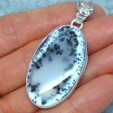 Merlinite Dendrite Opal Necklace - Sterling Silver - Filigree - Oval - p171202