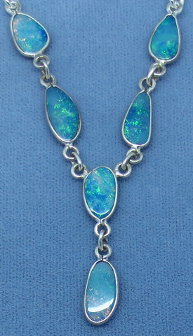 Genuine Australian Opal Necklace #1 - Sterling Silver - Opal Doublets - Bib - Y Necklace - 155508