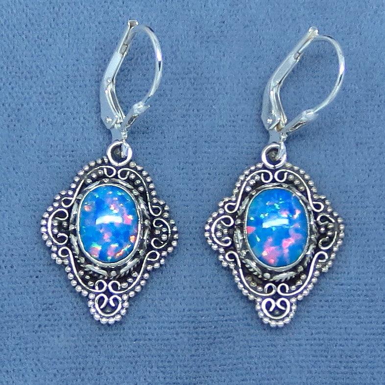 Bright Blue Lab Opal Earrings - Sterling Silver - Leverback - Victorian Filigree Design - Dangles - 261407