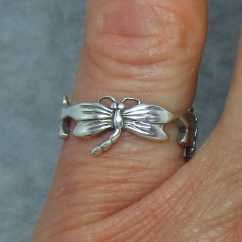 Size 4-3/4 Sterling Silver Dragonfly Ring - Dragonfly Band - Dragonflies All Around - Rdf28