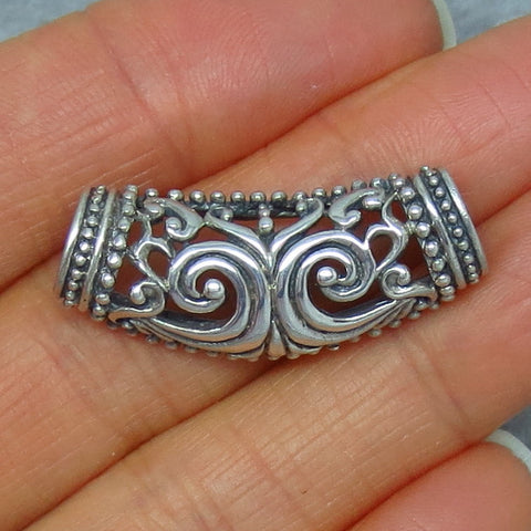 Sterling Silver Tube Barrel Filigree Slide - Celtic - Tree of Life - P8827