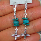Genuine Nevada Turquoise Zia Leverback Earrings - Sterling Silver - Montezuma Mine - Nugget - Taos - Sun - Cross - Long Dangles -- 161334