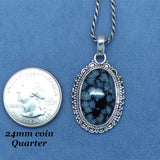 Snowflake Obsidian Pendant Necklace - Sterling Silver - Victorian Filigree Design - Oval - p171381