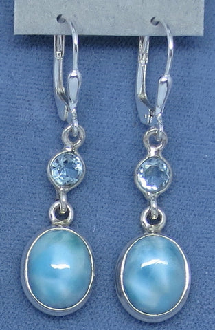 Genuine Larimar & Blue Topaz Earrings - Leverback - Sterling Silver - Oval - Long Dangles - Handmade - 172436