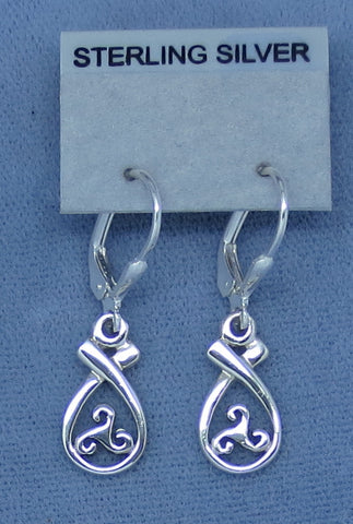 Small Celtic Knot Earrings - Leverback - Sterling Silver - Triskellion - Pear Shape - Dainty - Irish - Filigree - Hand Made -- 190699