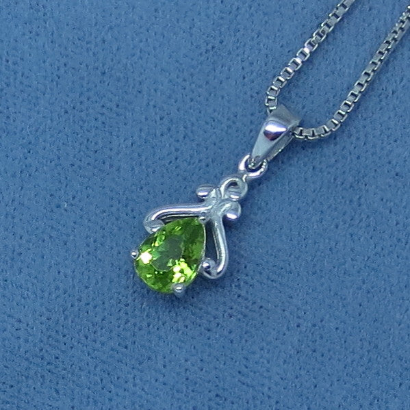 Tiny Genuine Peridot Necklace - Sterling Silver - Victorian Reproduction - Filigree