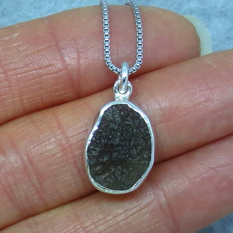 Small Czech Moldavite Pendant Necklace - Sterling Silver - Rough - p150951d