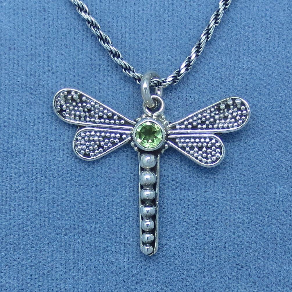 "Genuine Peridot Dragonfly Necklace - Sterling Silver - Small - 1"" -- d140605"