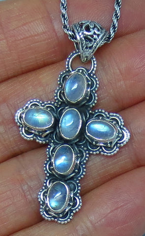 Blue Rainbow Moonstone Cross Necklace - Sterling Silver - Victorian Filigree Design - c161755