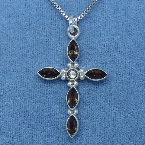 Genuine Smoky Quartz Cross Pendant Necklace - Sterling Silver - p150924