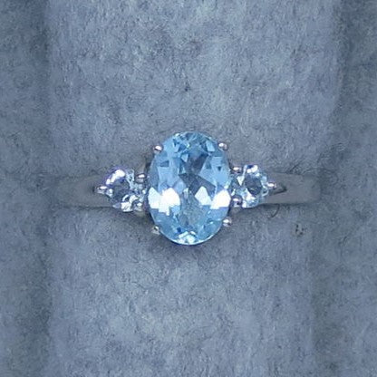 8 x 6mm Genuine Sky Blue Topaz Ring - Oval Cut - Sterling Silver - Size 6, Size 7, Size 8 or Size 9 - 201410