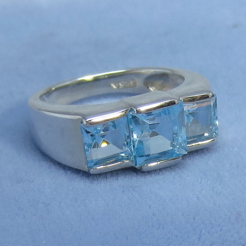 enuine Sky Blue Topaz Three Stone Ring - Sterling Silver - Princess Cut - Size 5, Size 6 or Size 9 - 941344