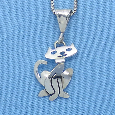 Sterling Silver Small Cat Pendant Necklace - Taxco Kitty Handmade -- P8610