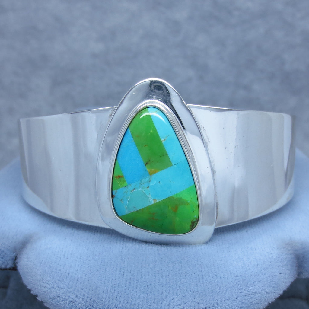 Vintage Turquoise Mosaic Inlay Cuff - Sterling Silver - 37.8g - Handmade - Signed - Blue and Green Genuine Turquoise