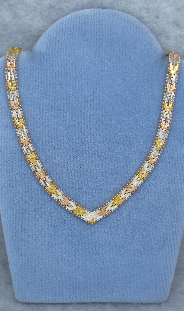 "18"" Tri Riccio Necklace - Sterling Silver - Vermeil - 22k Yellow & Rose Gold Plated - Made in Italy - 214503"