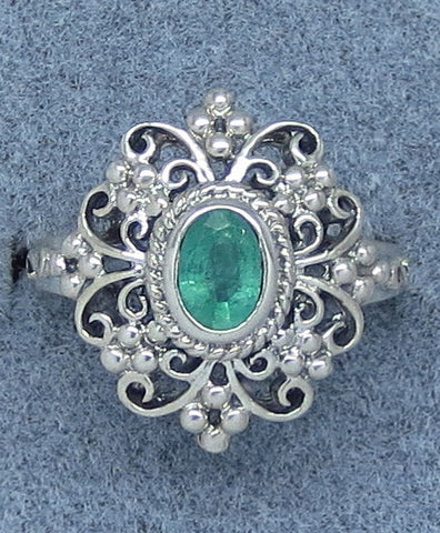 Size 6 Genuine Emerald Victorian Filigree Ring - Sterling Silver - Frilly - Handmade - c161585