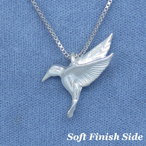 Reversible 3-D Hummingbird Necklace - Sterling Silver - Small - 2 Sided - Hand Made -- H210435