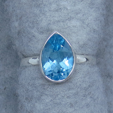 Size 4.5 Genuine Blue Topaz Ring - Sterling Silver - Pear Shape - Solitaire - Size 4-1/2 - r181170