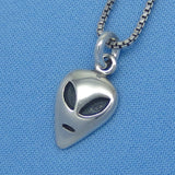 Tiny Sterling Silver Alien Charm Necklace - UFO - Spaceman - p160358