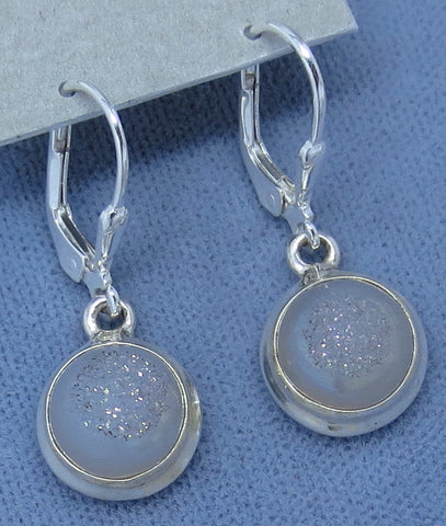 Angel Aura Druzy Earrings - Leverback - Sterling Silver - Small - Simple - Round - Hand Made - SU161620