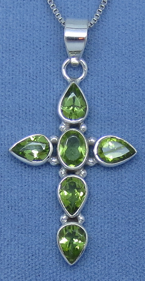 Genuine Peridot Cross Necklace - Sterling Silver - Large ish - Simple - Hand Made - JY1719124