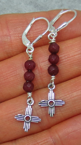 Dainty Genuine Ruby Zia Leverback Earrings - Sterling Silver - Long Dangles - Sun - Cross - Taos - Small - 161040
