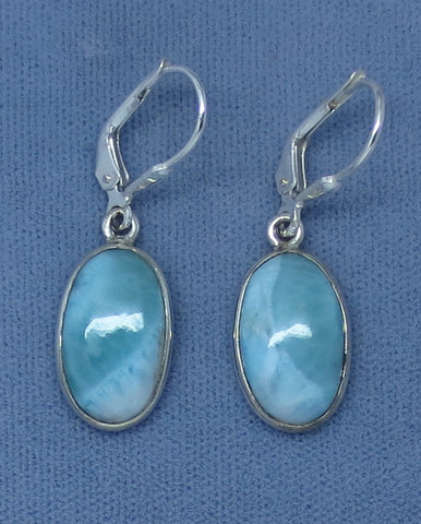 Small Genuine Larimar Earrings - Leverback - Sterling Silver - Simple - Oval - Handmade - E907