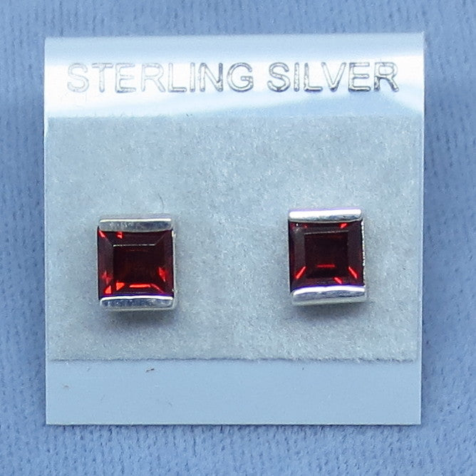 Genuine Garnet Earrings - Studs - Posts - Square - Princess Cut - Sterling Silver - Hand Made - G17