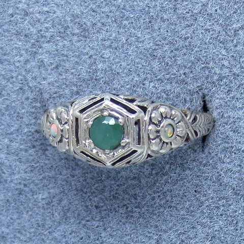 Size 7.75 Genuine Emerald Ring - Sterling Silver - Victorian Filigree Design - Dainty - A151644
