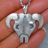 Southwest Cow Skull Necklace - Sterling Silver - Tim Yazzie - Buffalo - Handmade -- BF3