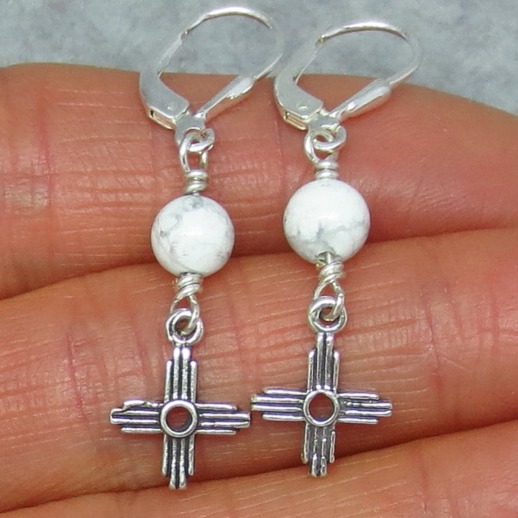 Tiny Howlite White Turquoise Zia Leverback Earrings - Sterling Silver - Sun - Cross - Taos - Small - Dainty - Delicate - 160713