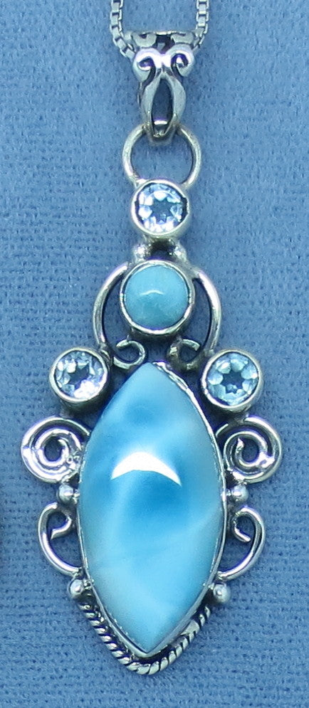 Genuine Larimar & Blue Topaz Necklace - Sterling Silver - Marquise - Filigree - p141151