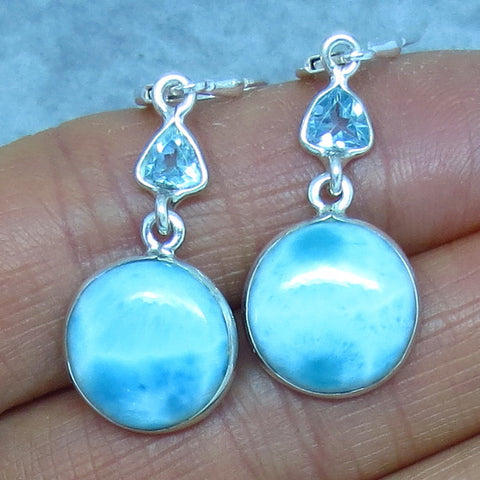 Genuine Larimar & Blue Topaz Earrings - Leverback - Sterling Silver - Round - Dangles - 152051