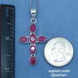 Genuine Ruby Cross Necklace - Sterling Silver - Raw Ruby - India Ruby - jy161920